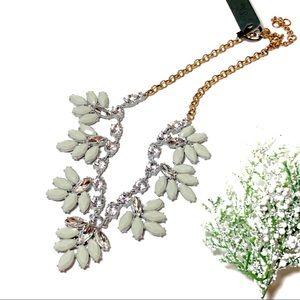 J. Crew Gray Crystals Leaf Stones Necklace